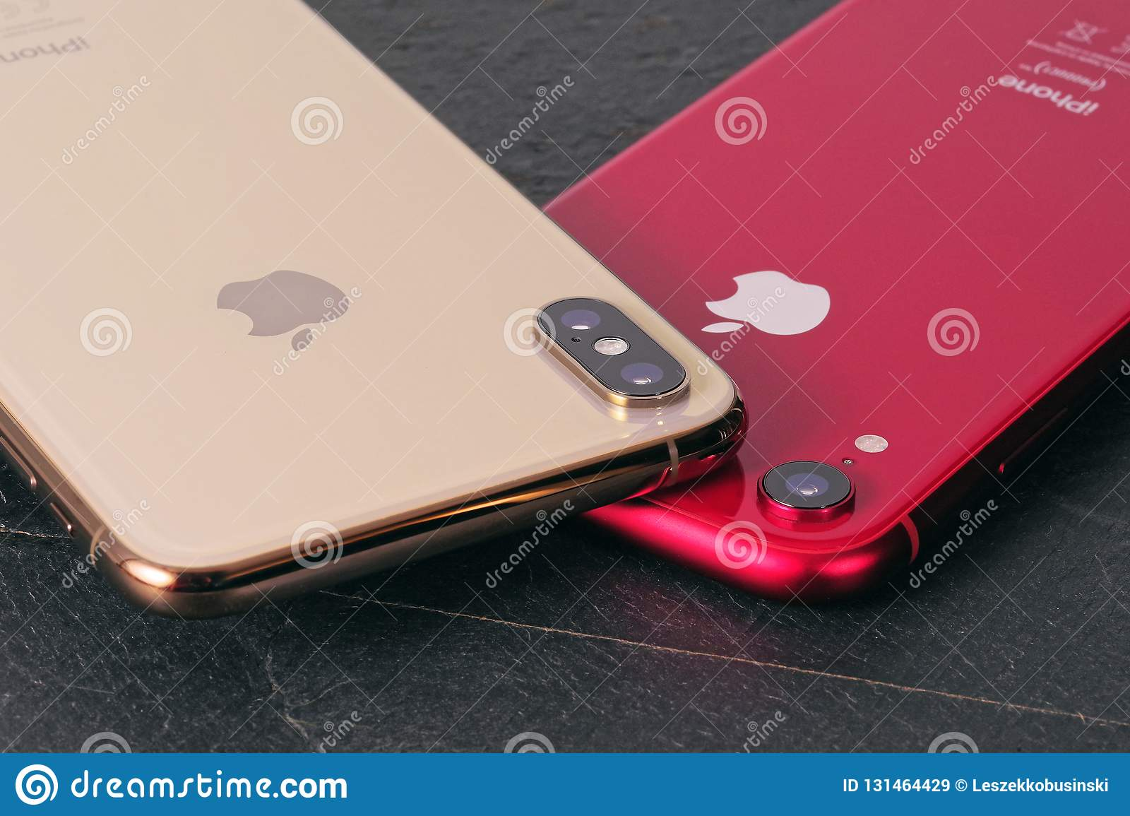 Golden IPhone XS Max And Red IPhone XR Editorial Stock Image