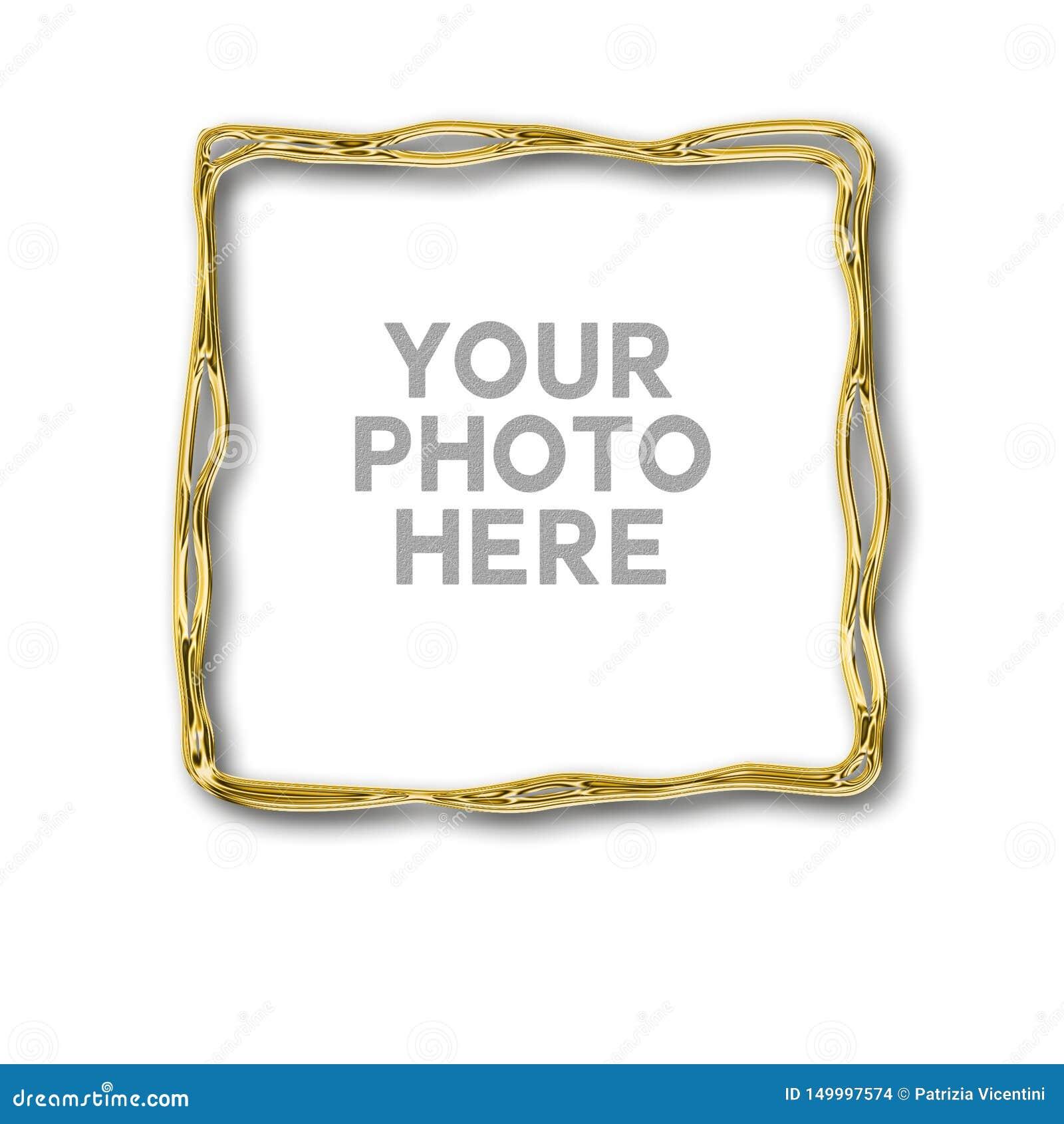Golden irregular frame for your photo