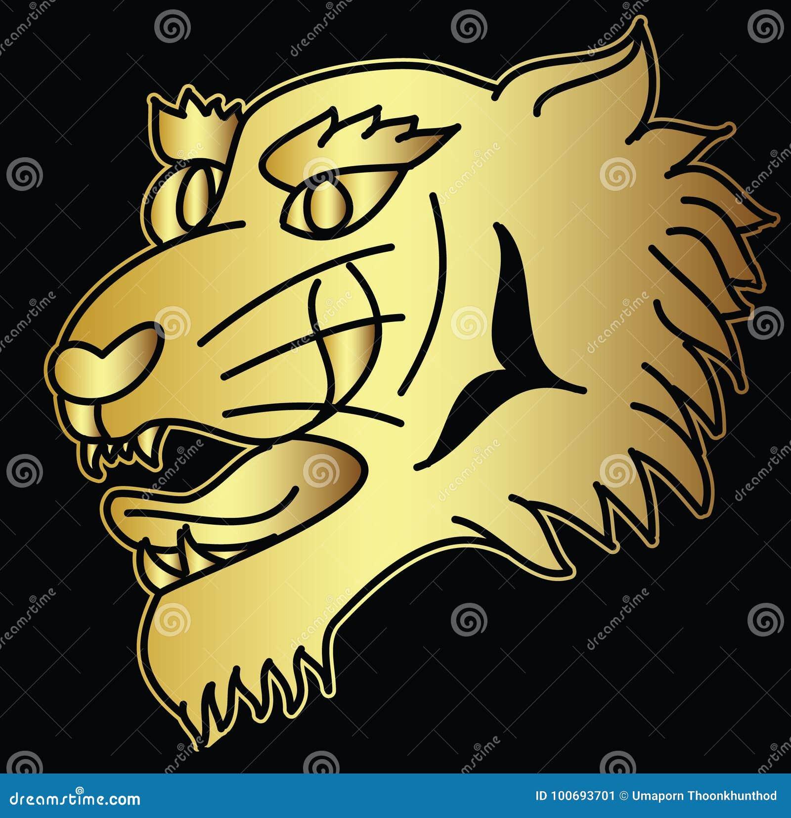 Golden Japanese Tiger Head Tattoo Design Vector For Sticker Stock Vector Illustration Of Black Golden 100693701