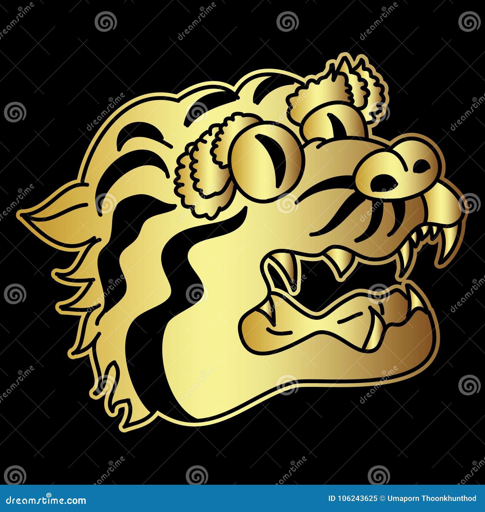 Golden Japanese Tiger Head Tattoo Design Vector For Sticker Stock Vector Illustration Of Coloring Decoration 106243625