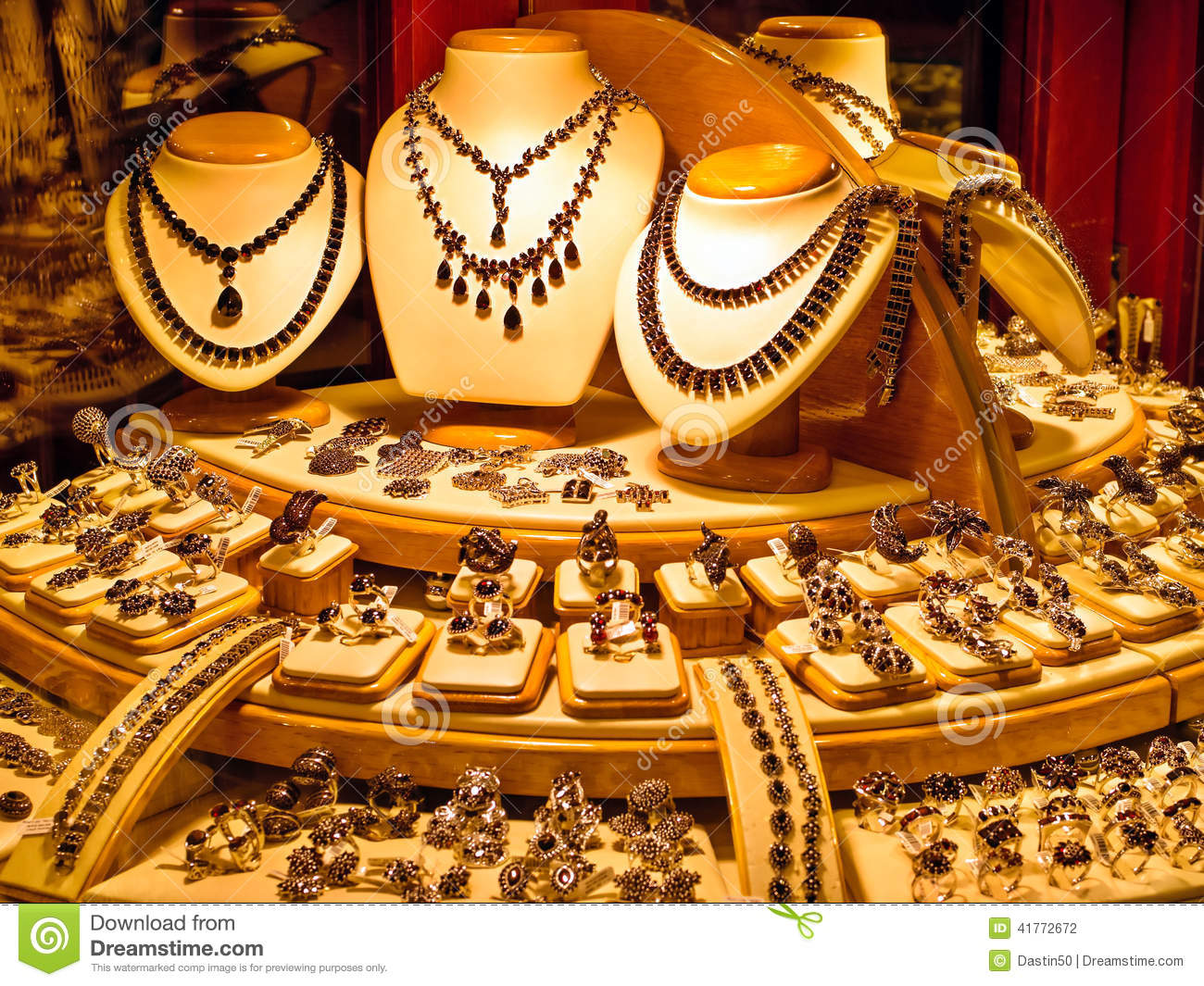 Golden Jewellery In A Store Window Stock Photo Image