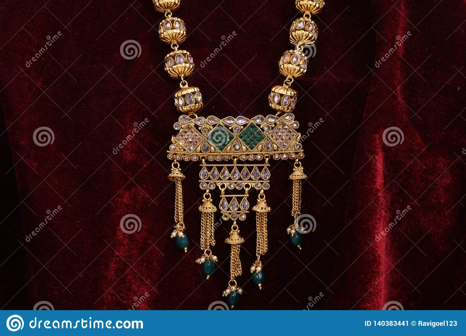 Golden Jewelry Fancy Designer Chain Pendant Neck Set For Woman Fashion Stock Image Image Of Dominant Header 140383441