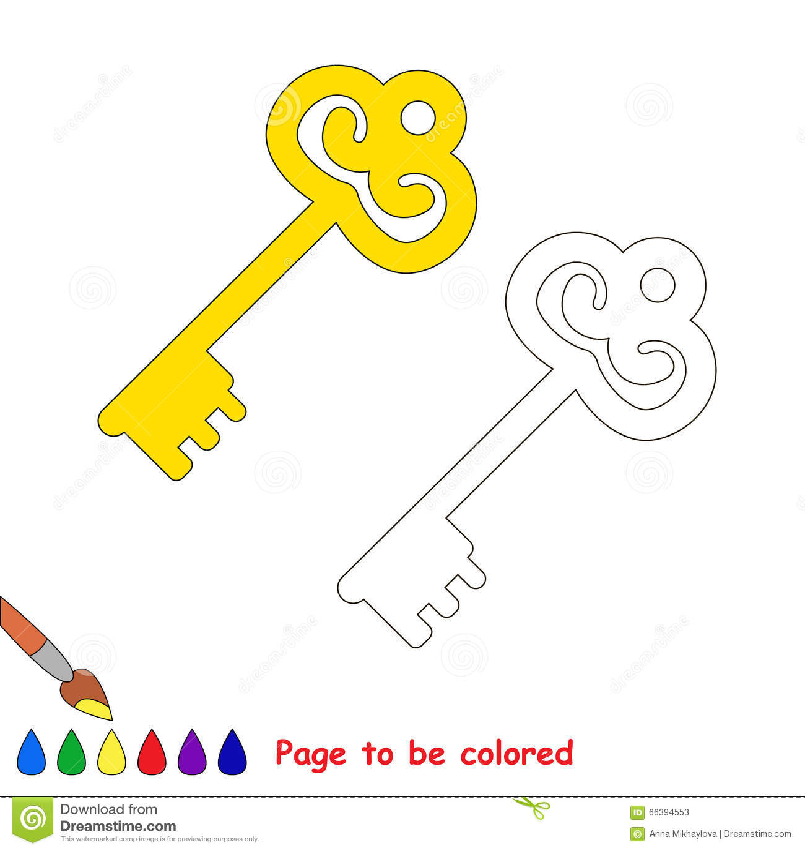 Royalty Free Vector Download Golden Key Cartoon