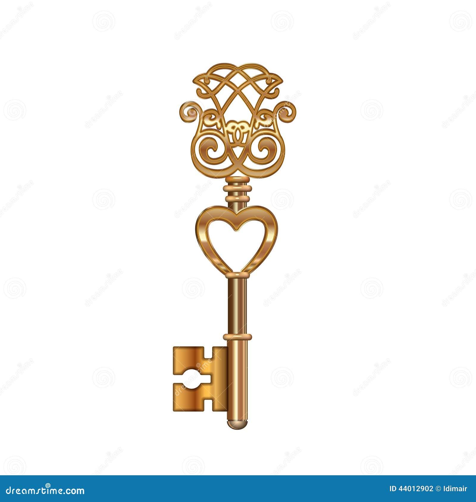 Vector Key Illustration: Golden Key With Heart. Vector Stock Vector