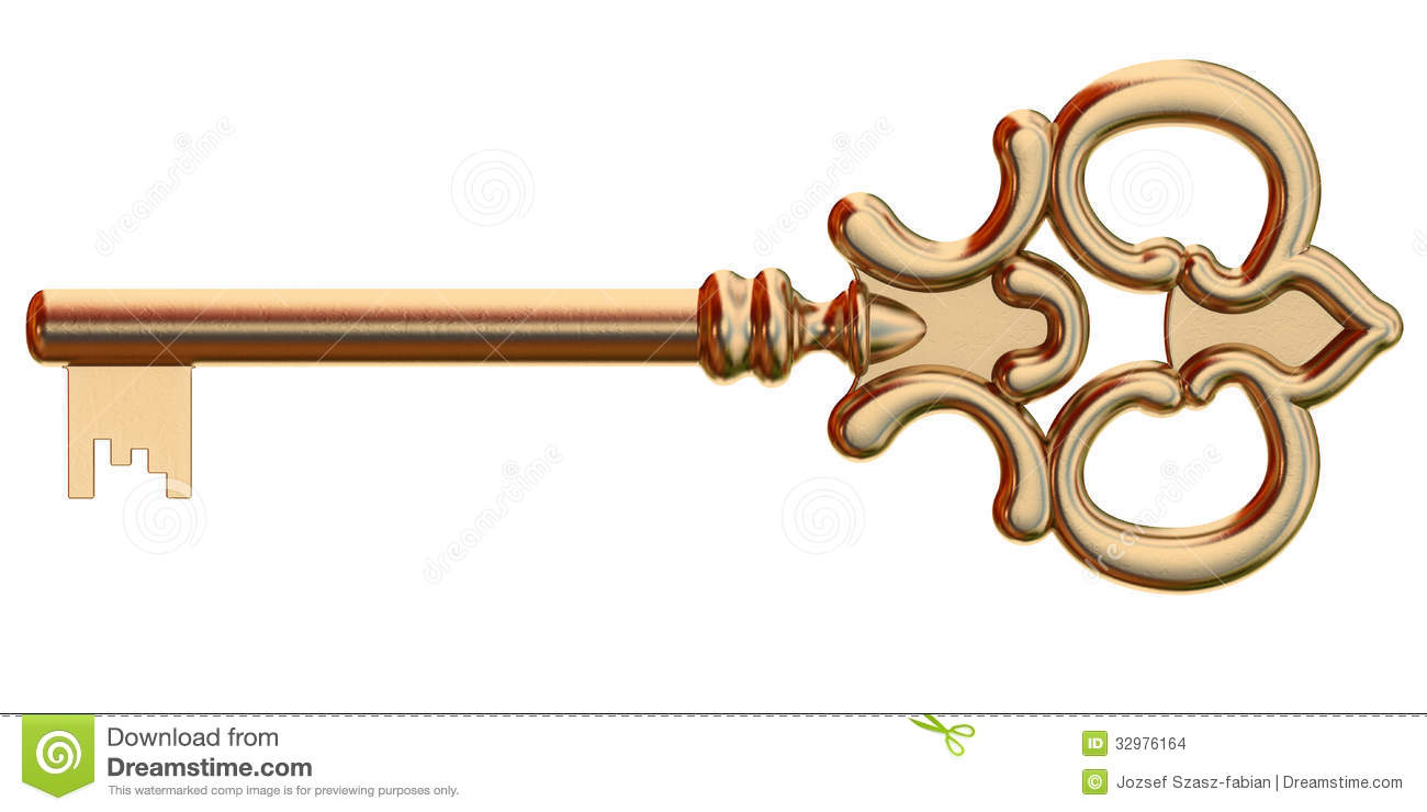 With golden key 3d rendering plan concept with golden key 3d rendering - Fashioned Golden Isolated Key Old Rendering