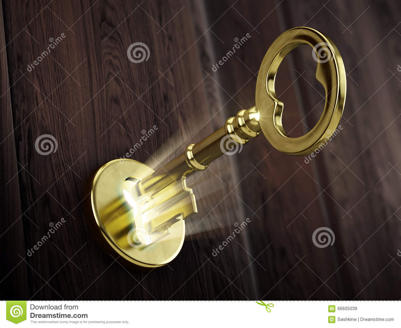 With golden key 3d rendering plan concept with golden key 3d rendering - Golden Key Moving In Keyhole Royalty Free Stock Images