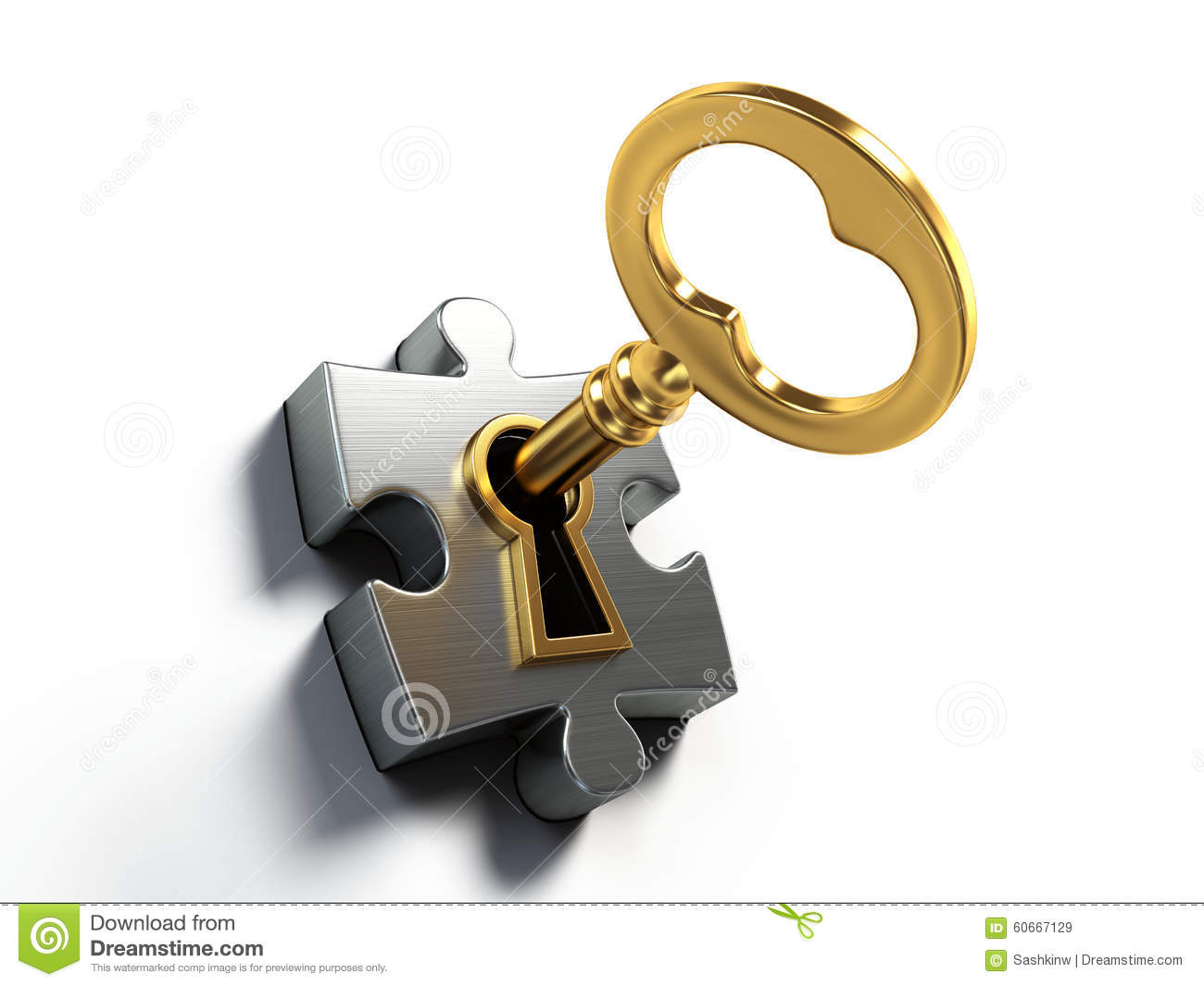 With golden key 3d rendering plan concept with golden key 3d rendering - Key Puzzle Gate Problem Connection Unlock Trust Password Solving Solution Entrance Piece Render Opening Opportunity Concept