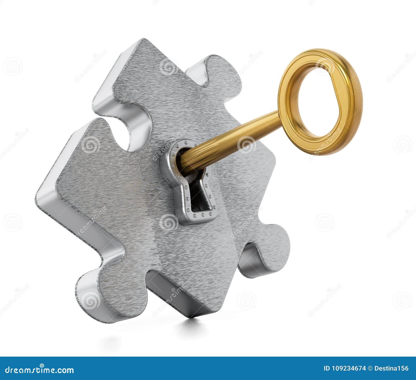 Golden Key Unlocking Metallic Puzzle Piece  3D Illustration Stock