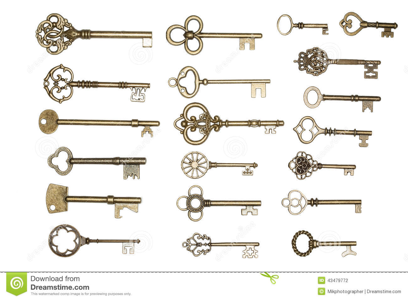 Golden keys isolated on white