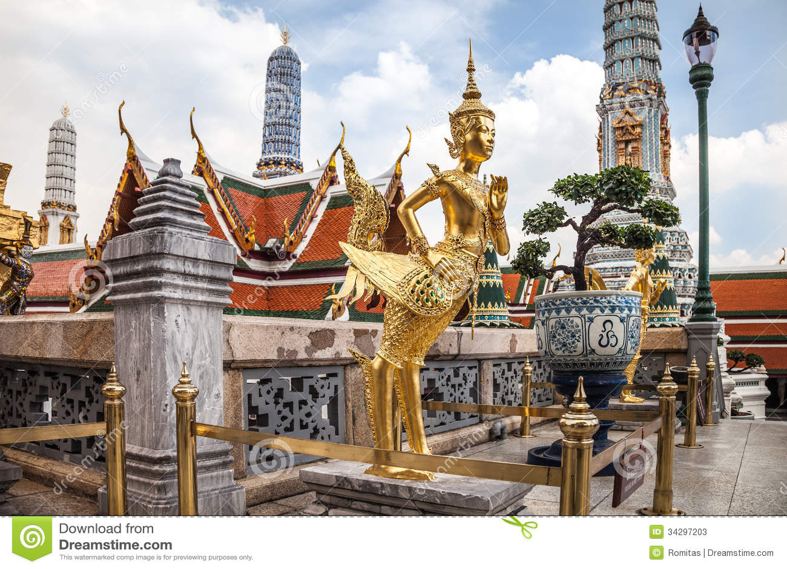 Golden Kinnara Statue At Grand Palace In Bangkok Stock ...