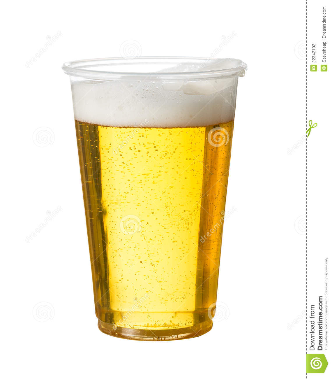 Golden beer, ale or lager in a plastic disposable cup or glass for ...
