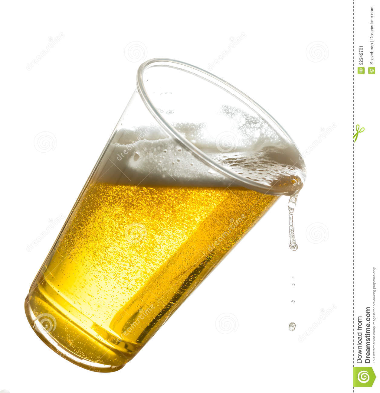 Golden beer, ale or lager in a tilting plastic disposable cup or glass ...