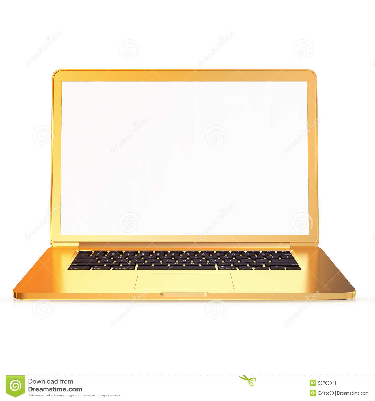 golden laptop on a white background stock illustration