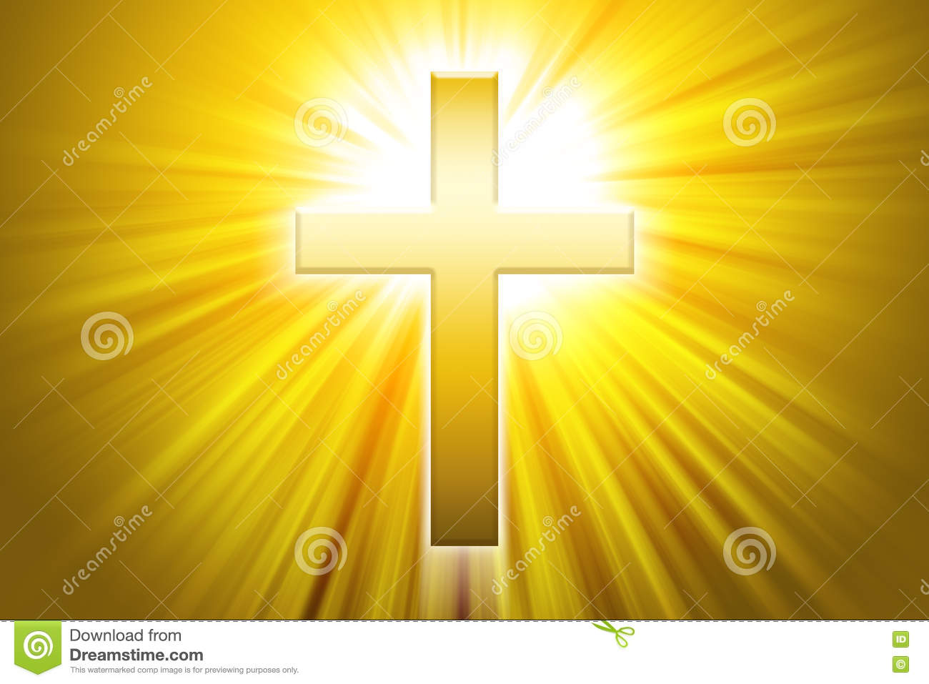 Golden Latin Cross With Sunbeams Stock Illustration Illustration