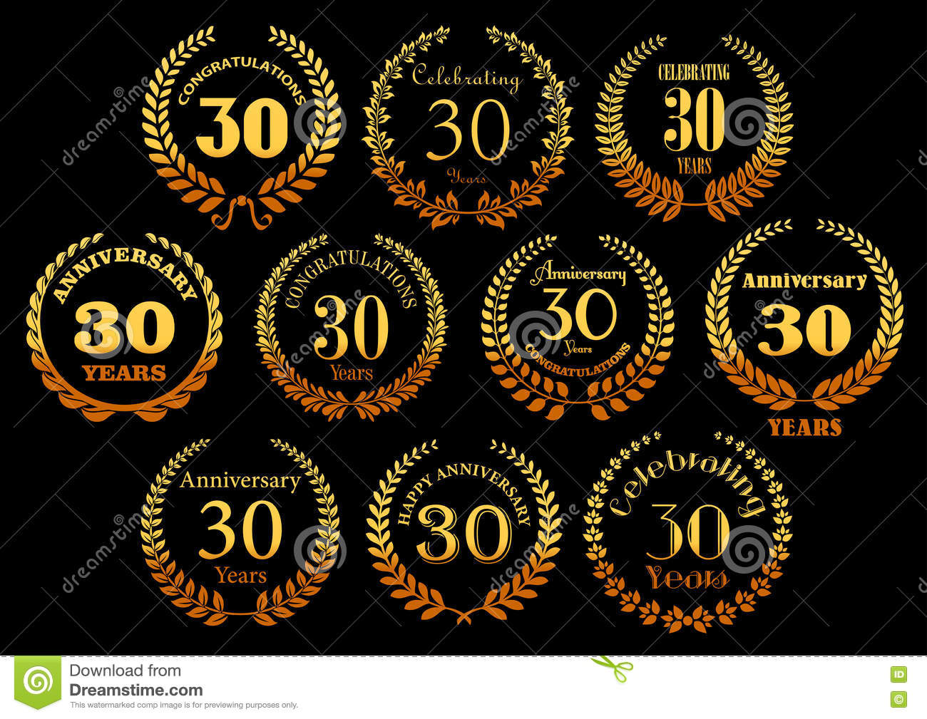 Golden laurel wreaths icons for jubilee design