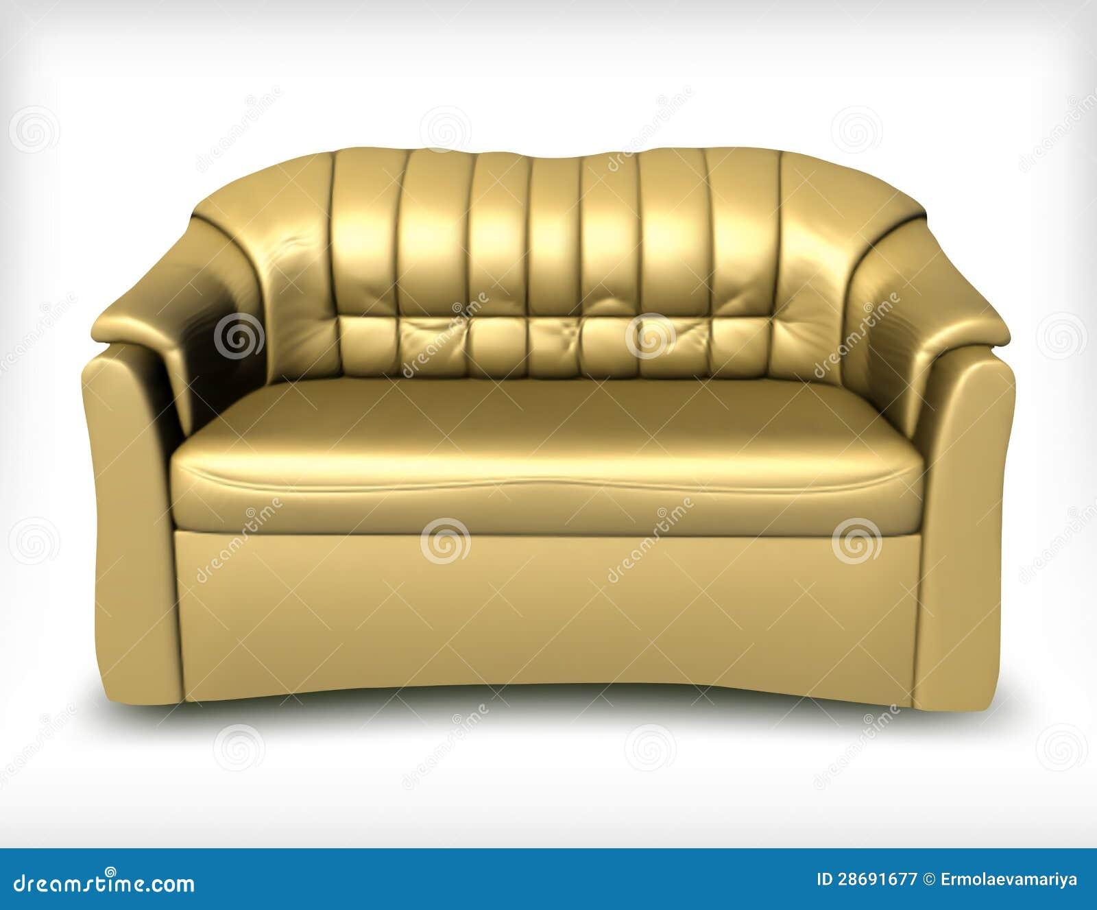 Golden Leather Sofa. Vector