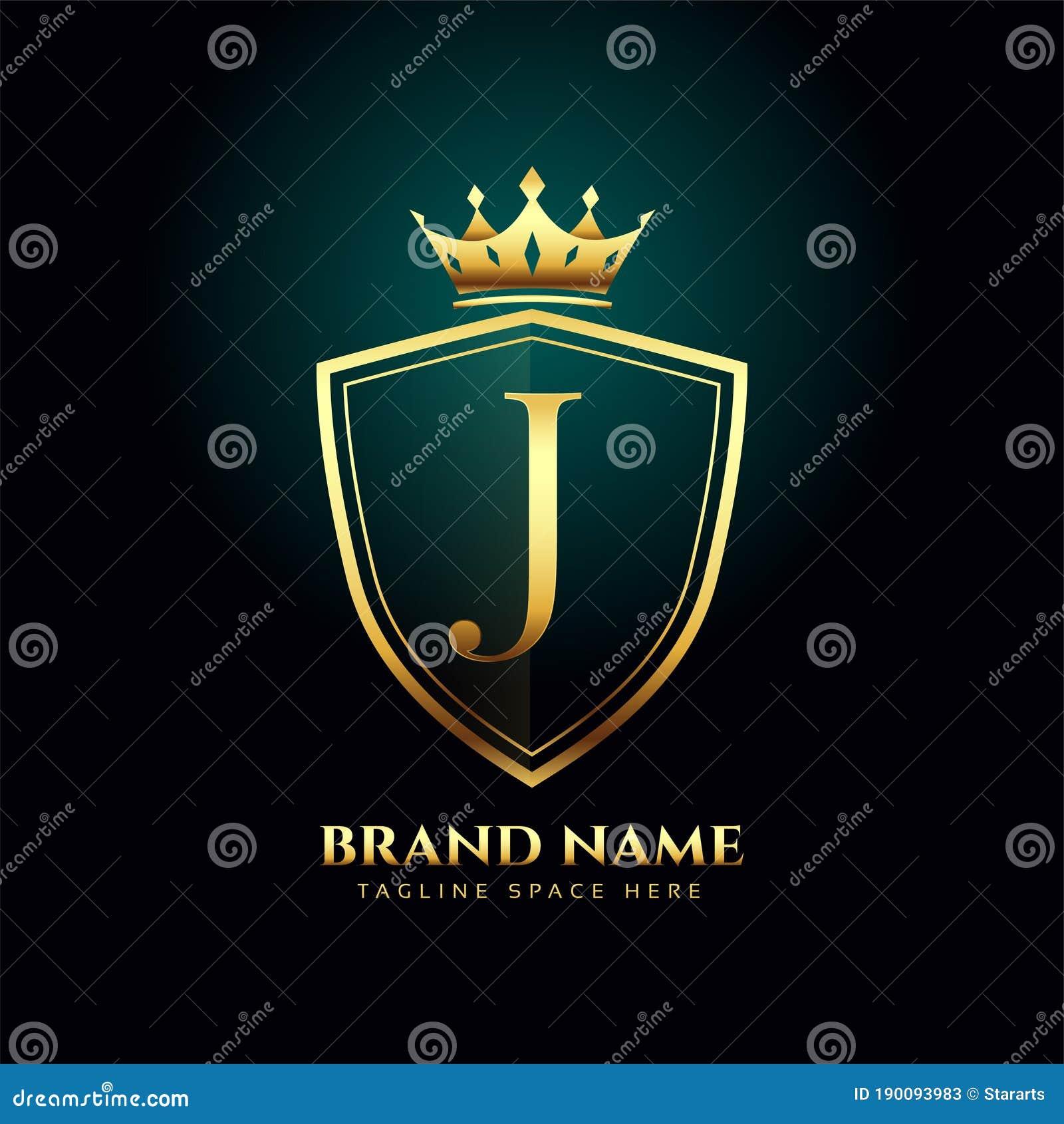 Golden Letter J Monogram Crown Logo Concept Design Stock