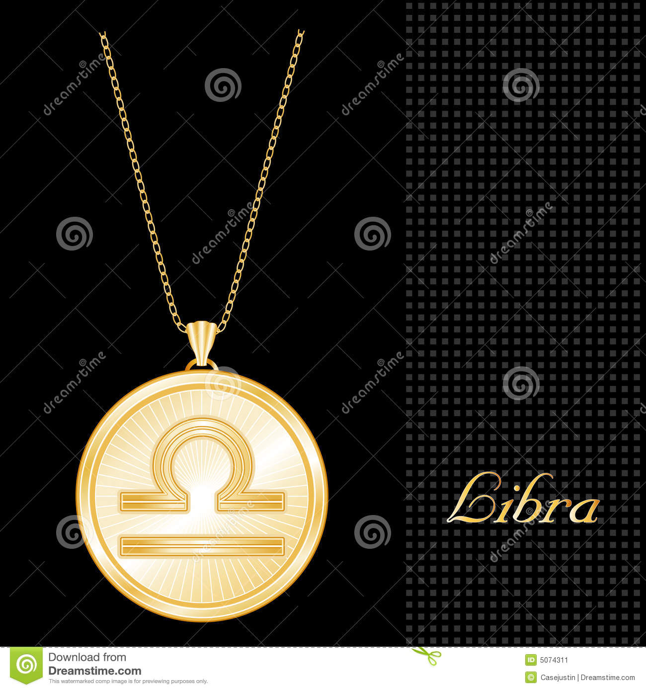 Golden Libra Pendant Necklace Stock Image Image 5074311