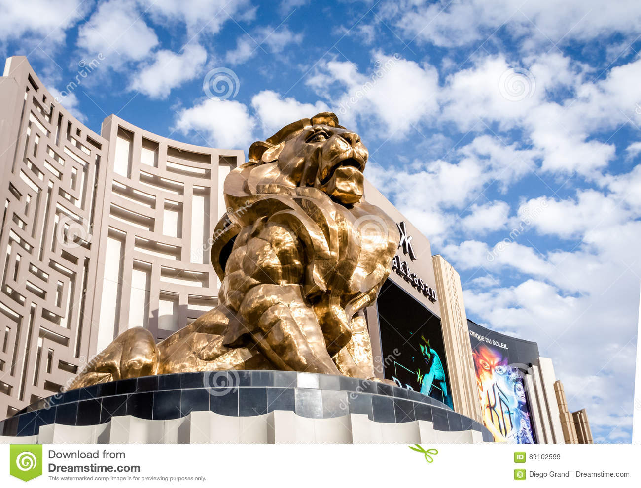 Golden Lion At Mgm Grand Hotel And Casino Las Vegas Nevada Usa Editorial Stock Image Image Of Golden Nevada 89102599