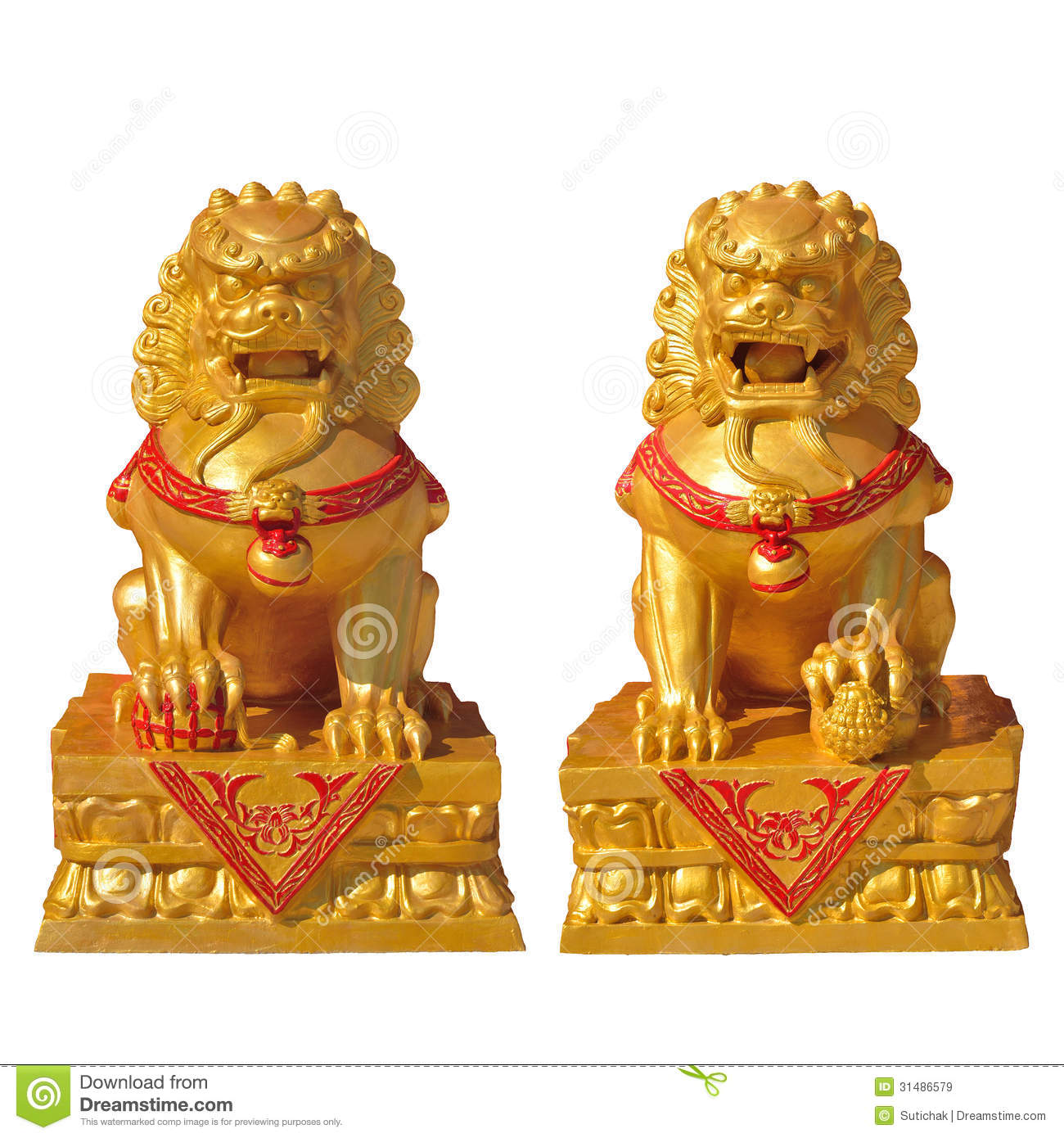 Gold chinese lion statue