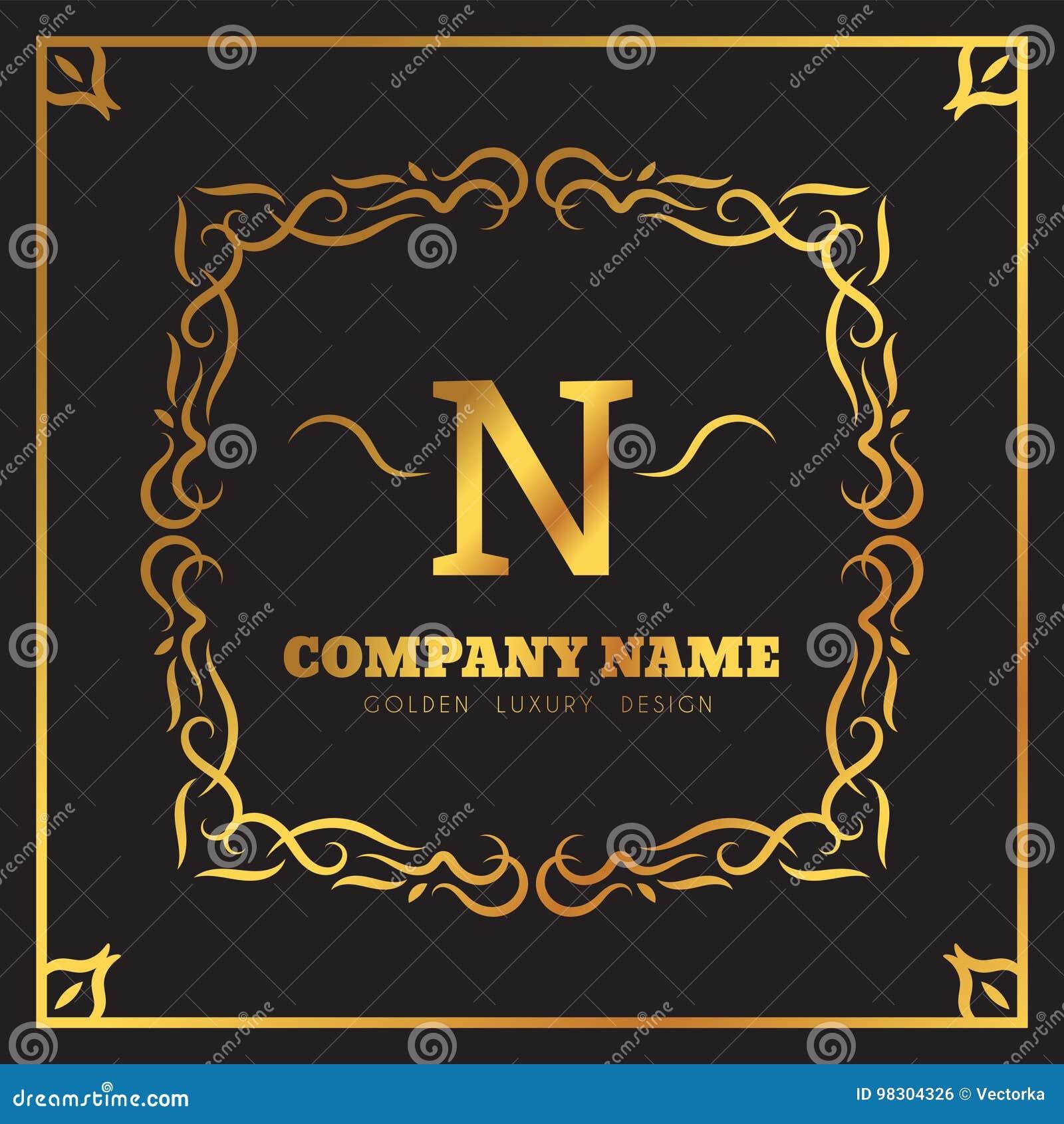 Golden Logo template Elegant flourishes calligraphic. Monogram N letter emblem. Vintage ornament lines. Luxury Business
