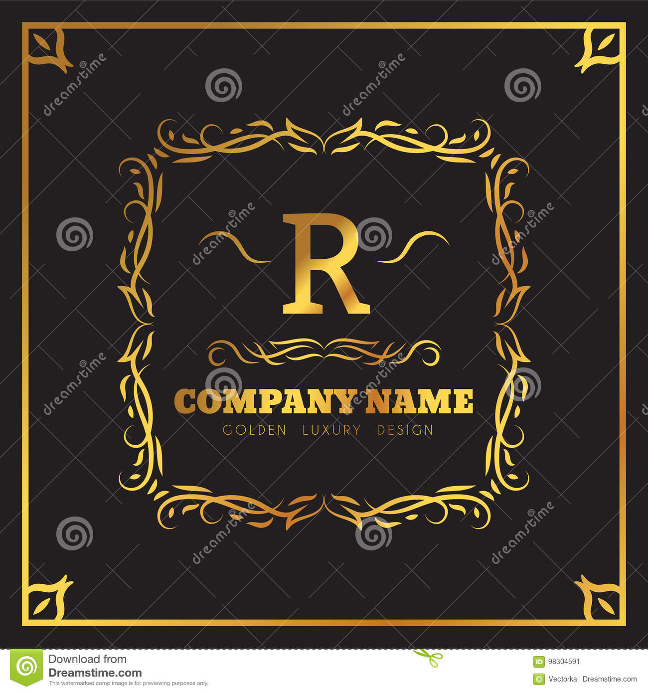 Golden Logo template Elegant flourishes calligraphic. Monogram R letter emblem. Vintage ornament lines. Luxury Business