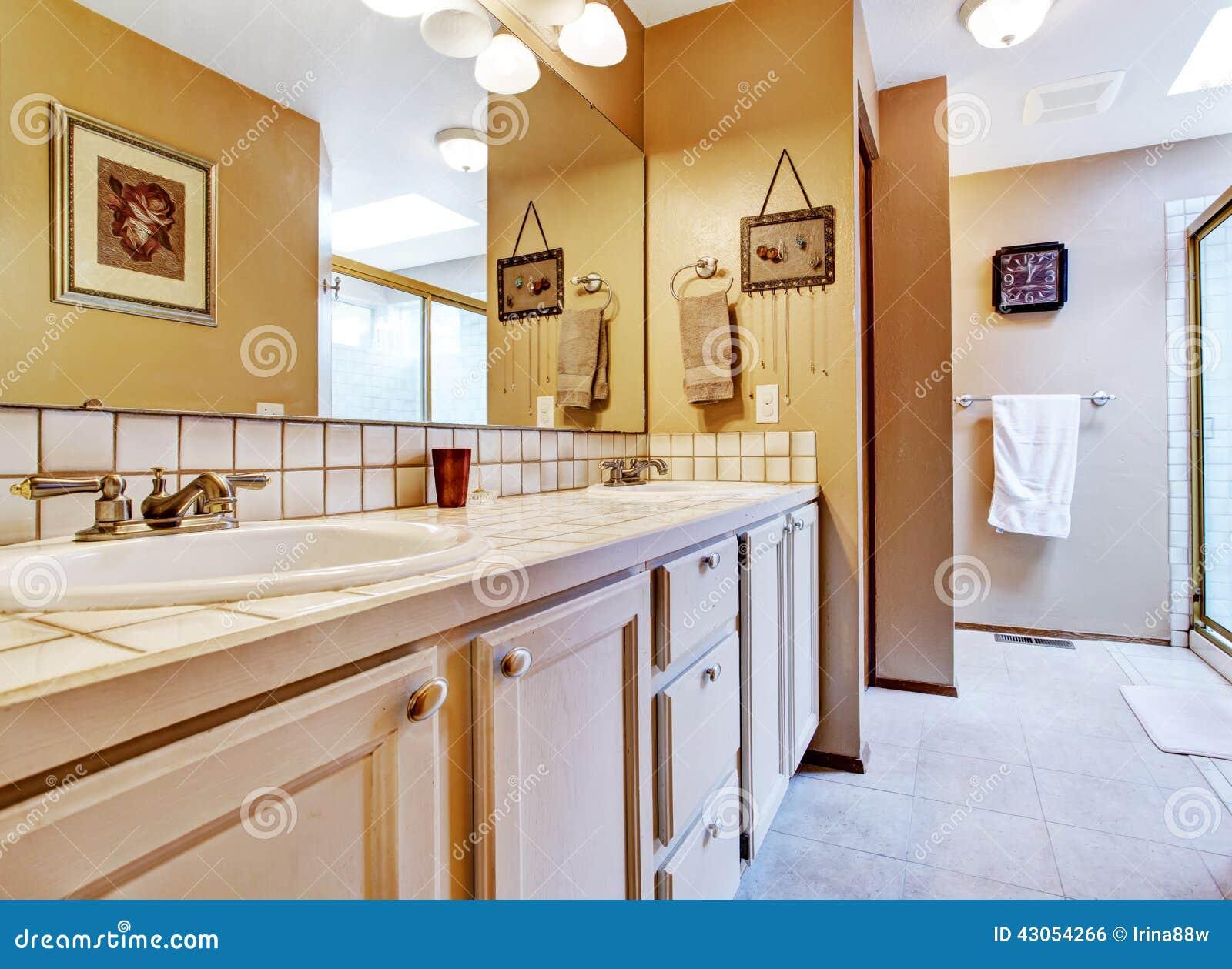 bathroom interior in old house view of bathroom vanity cabinet