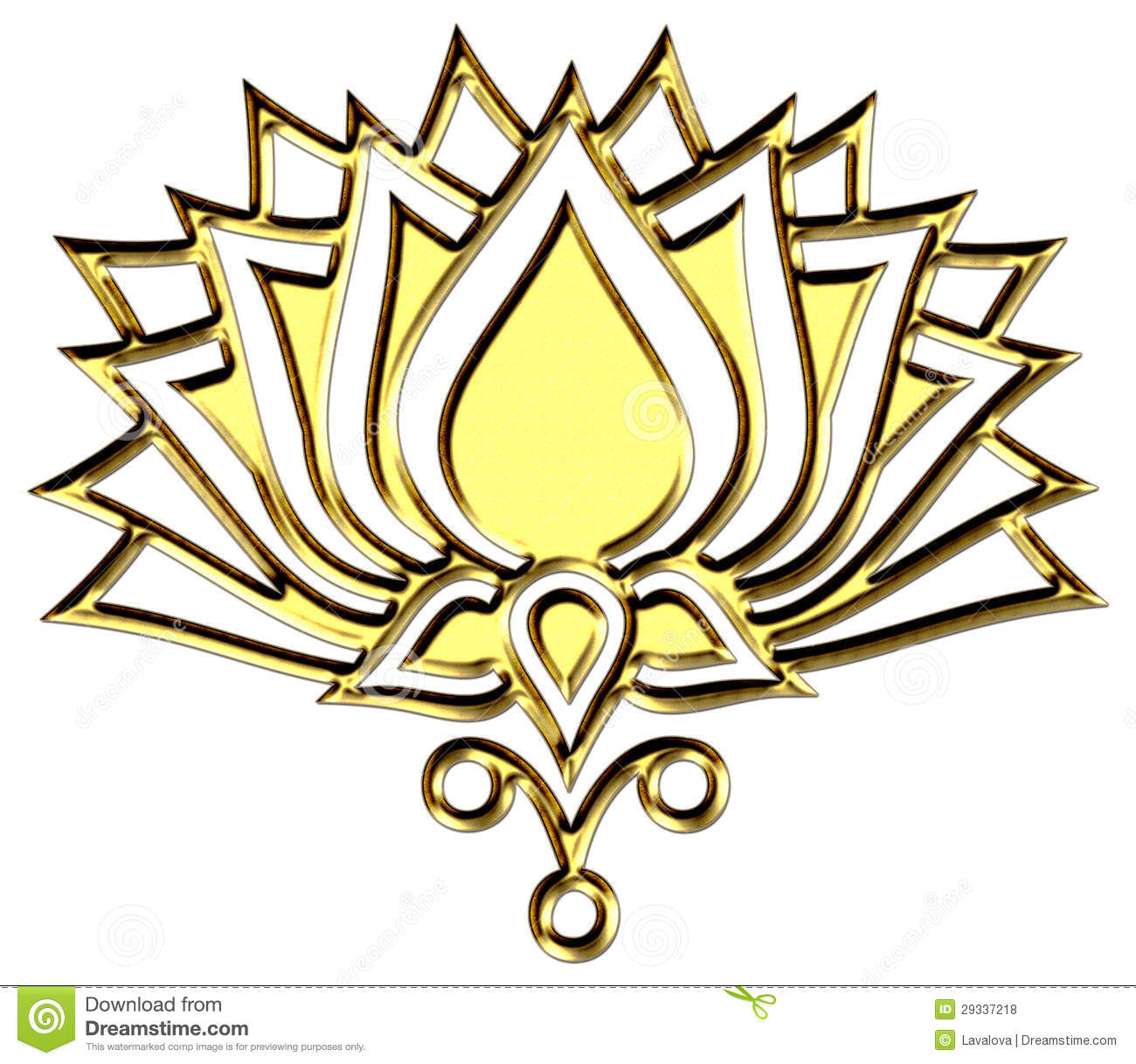 Golden Lotus Flower Symbol Enlightenment Stock Illustration Image