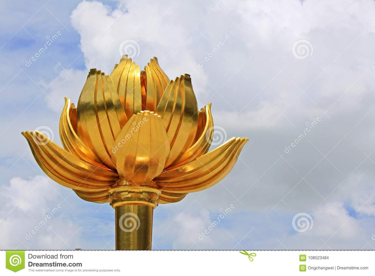 Golden lotus square macau china stock photo image of macao the lotus square or golden lotus square is an open square macau china the area features the large bronze sculpture lotus flower in full bloom and is mightylinksfo