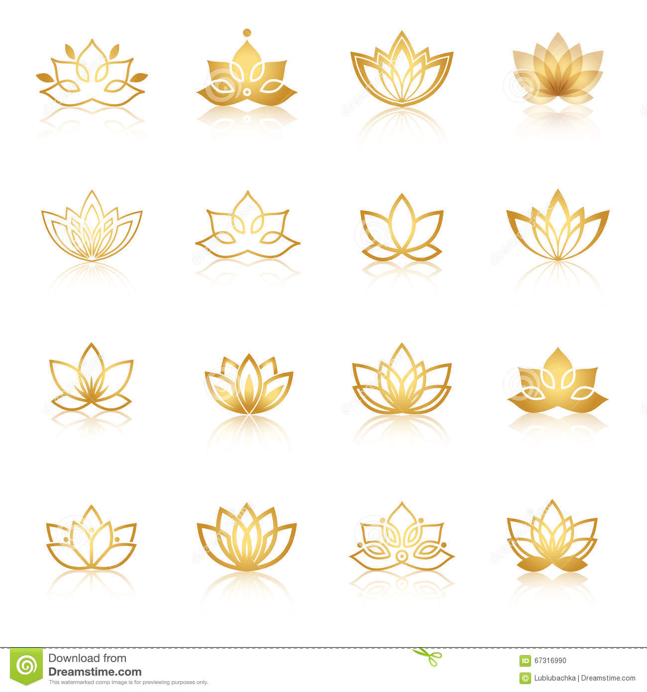 Golden Lotus Symbol Icons Vector Floral Labels For Wellness Ind