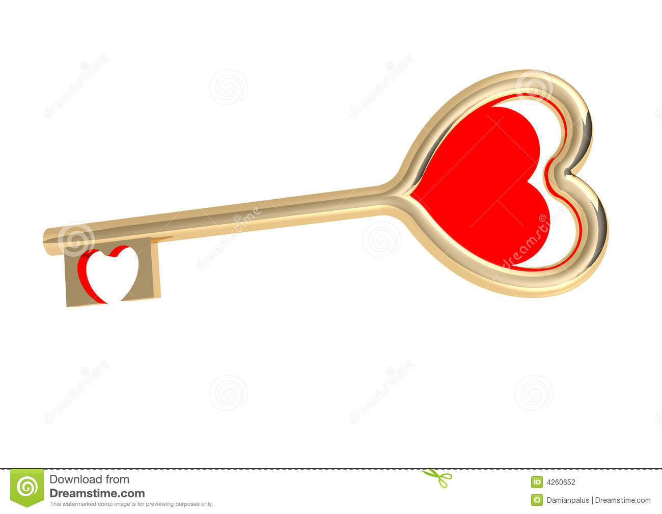 Golden love key and red heart on a white background.