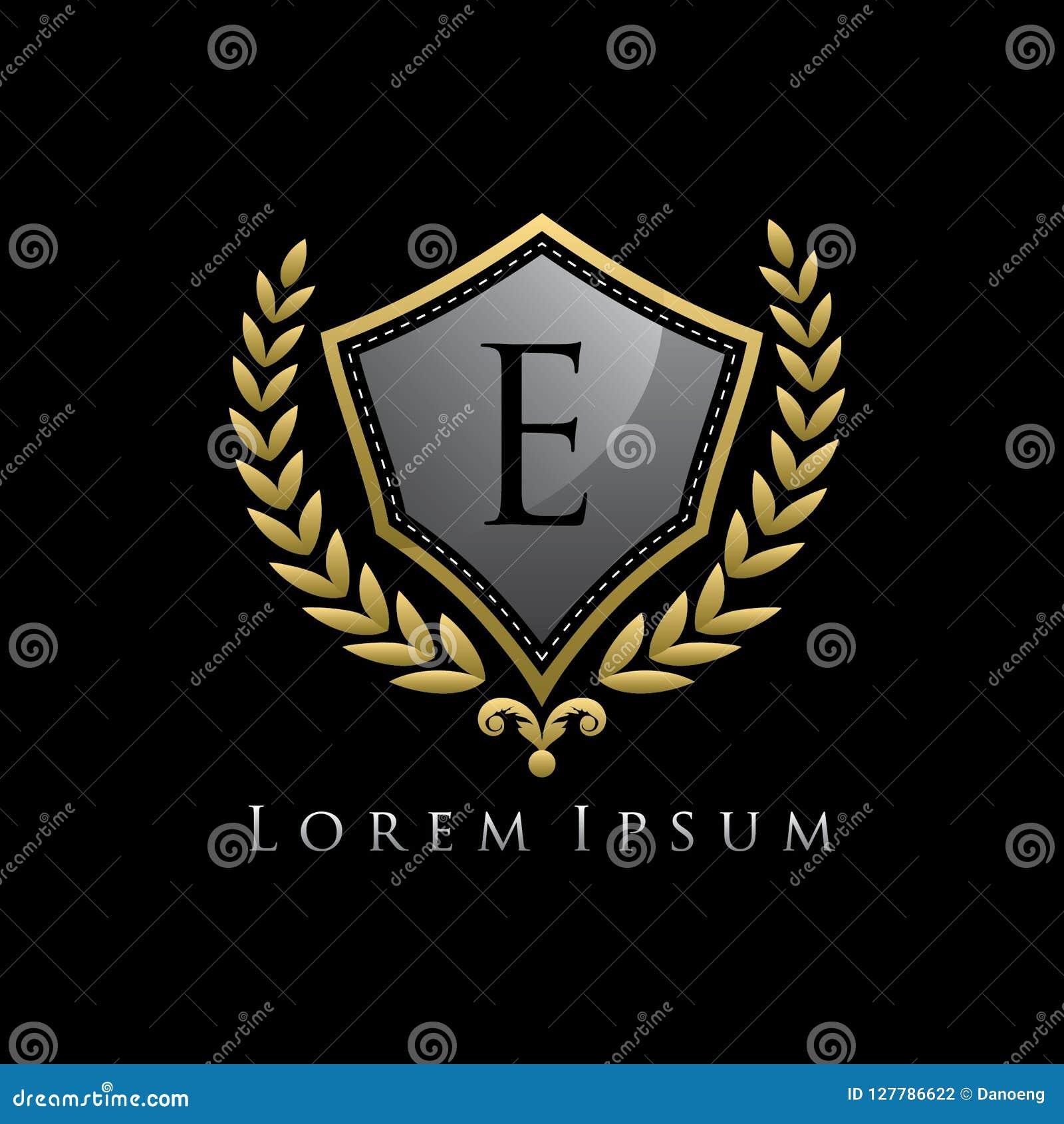 Golden Luxury Shield E Letter Logo.