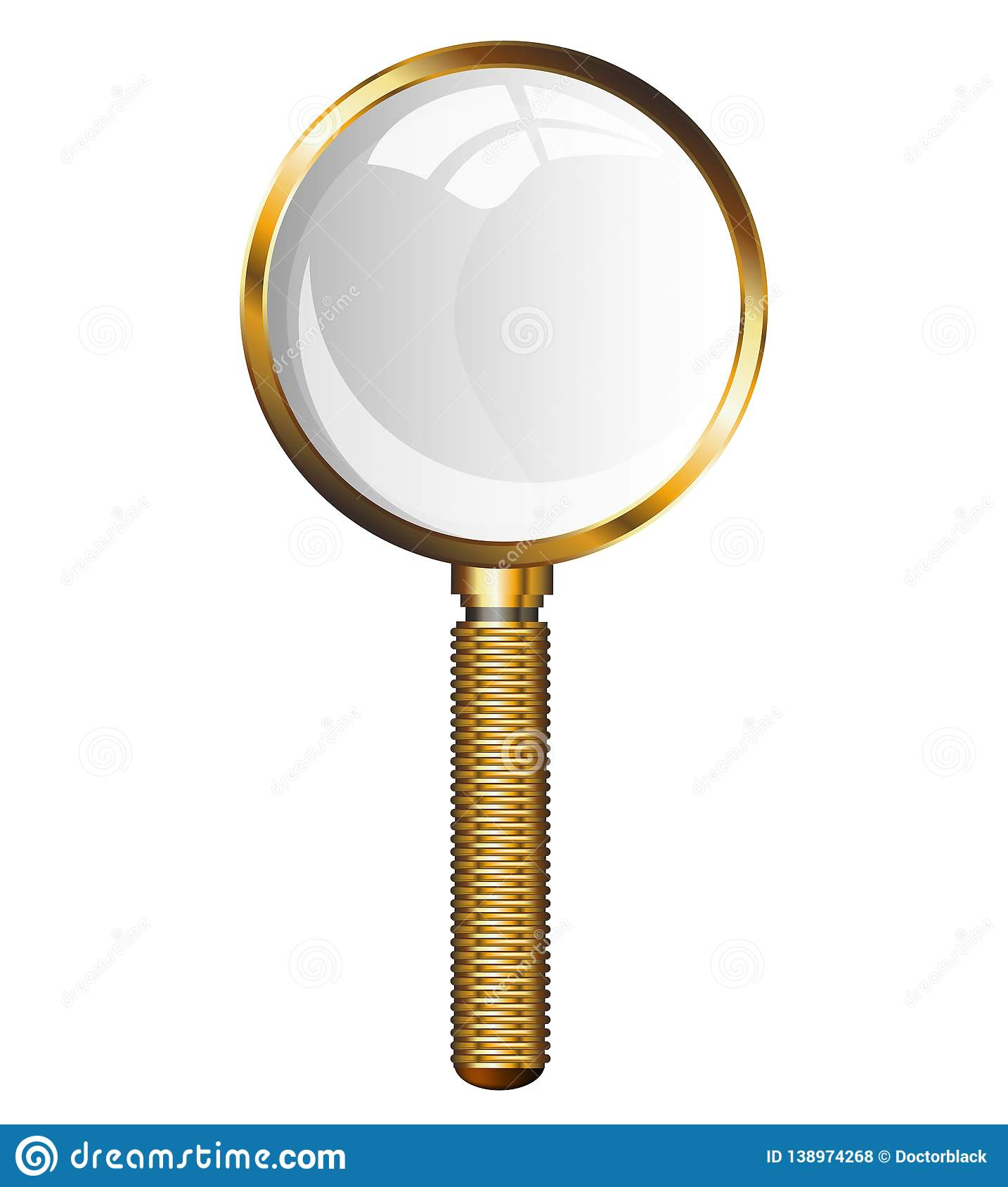 Golden Magnifying Glass. Transparent loupe on a white background. Isolated illustration