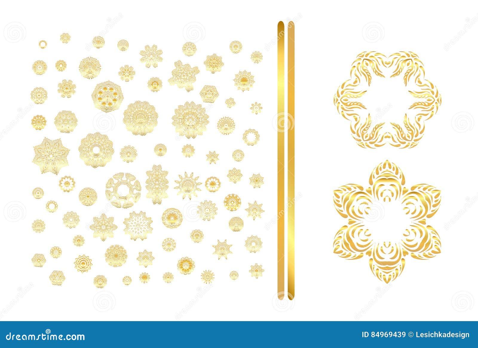 Golden Mandala Set Gold Pattern On Background Stock Vector