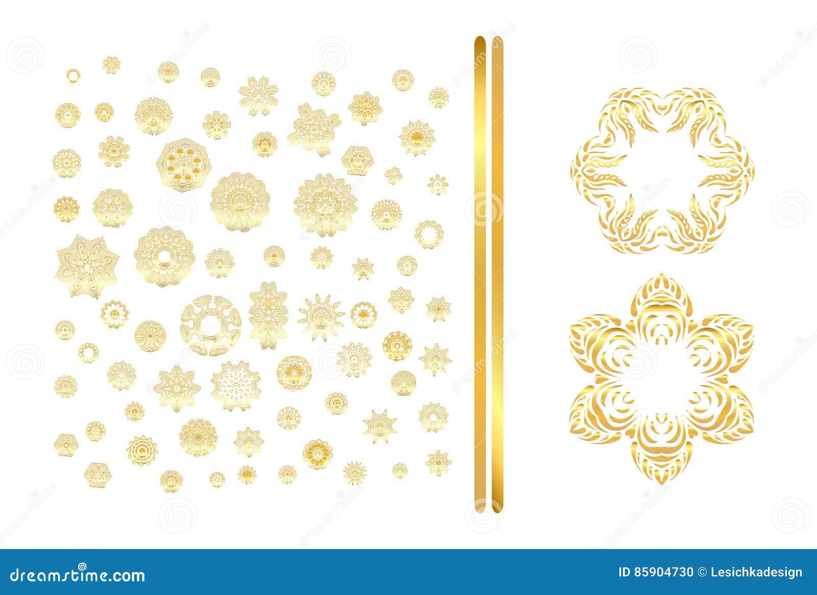 Golden Mandala Set Gold Pattern Isolated On Background Stock