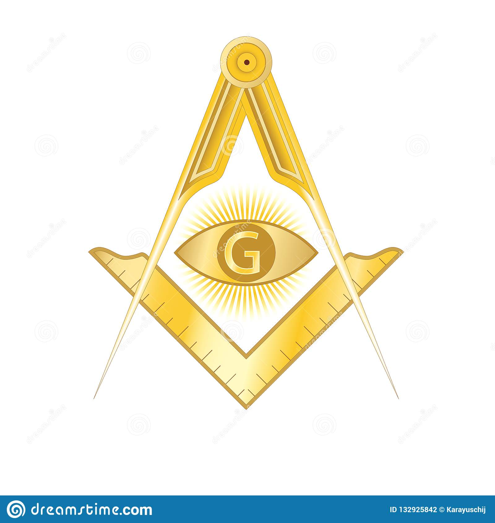Golden Masonic Square And Compass Symbol Stock Vector