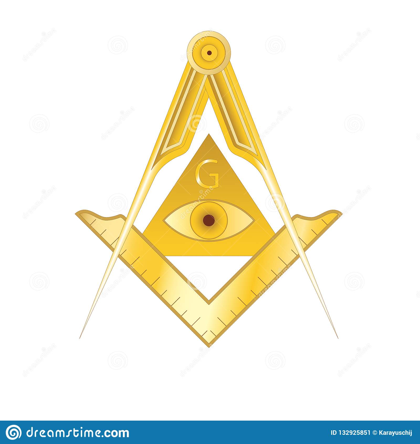 Golden Masonic Square And Compass Symbol Stock Vector