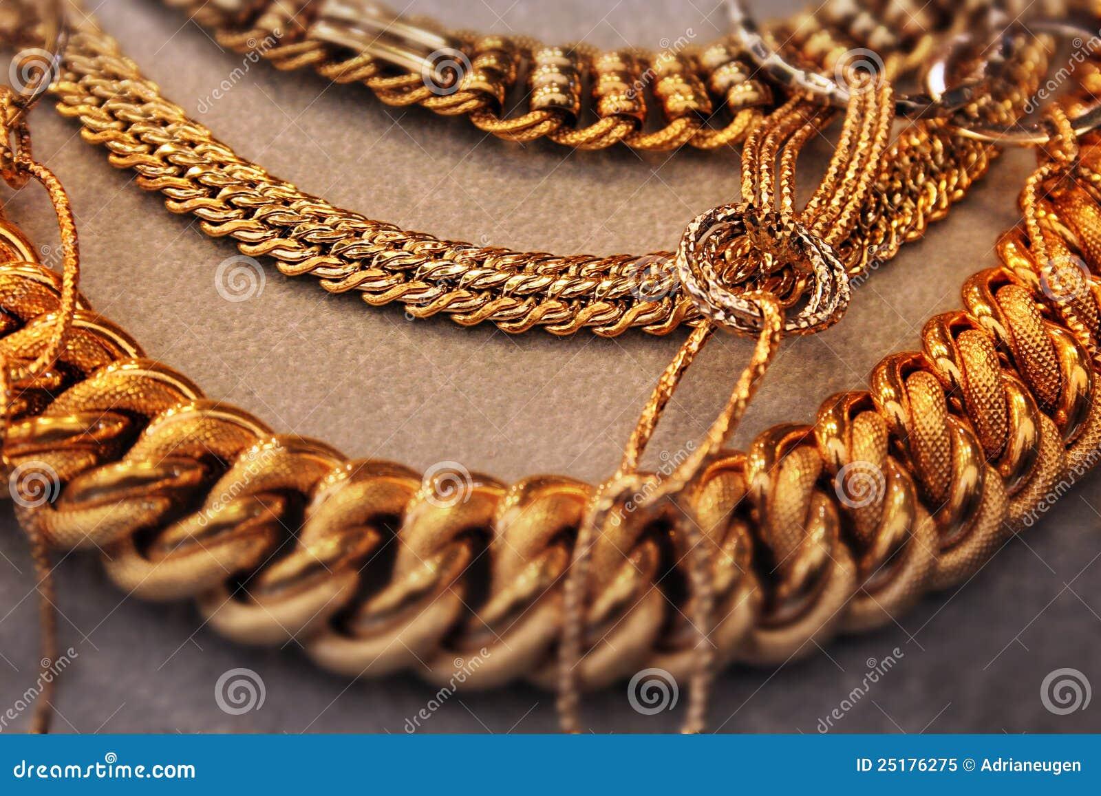 Download Golden massive necklace stock image. Image of detail - 25176275