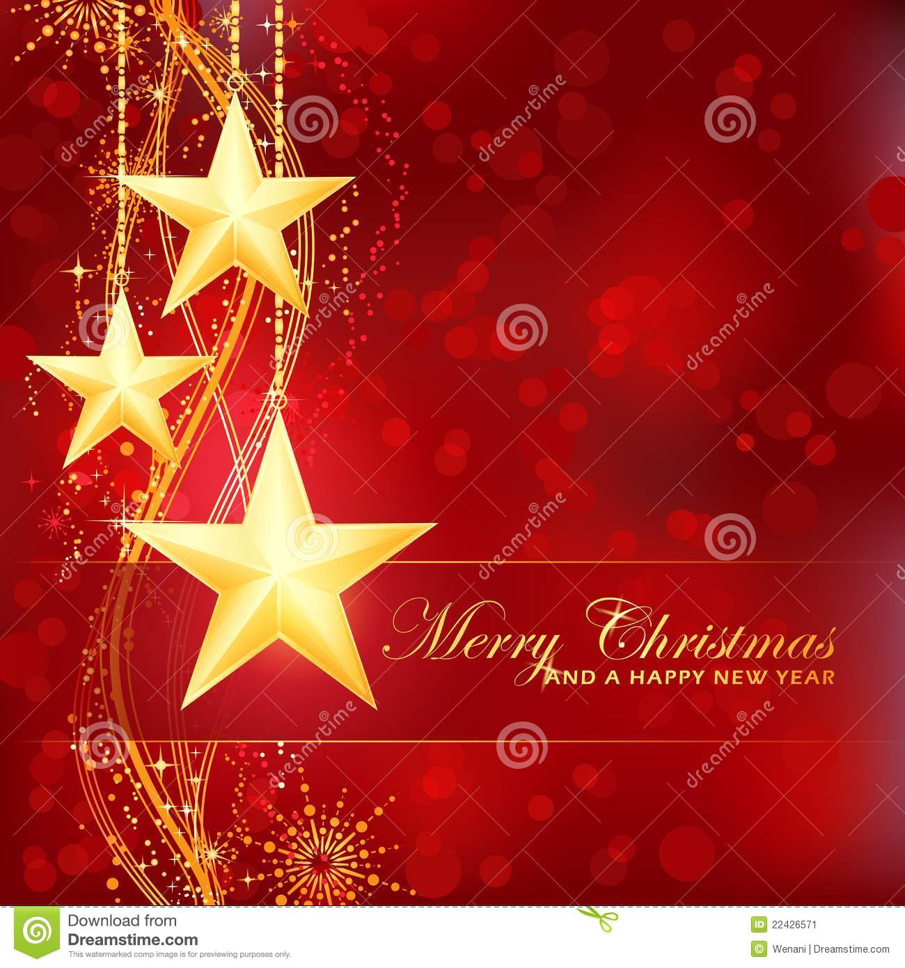 Golden Merry Christmas Stars On Red Background Stock Image - Image ...
