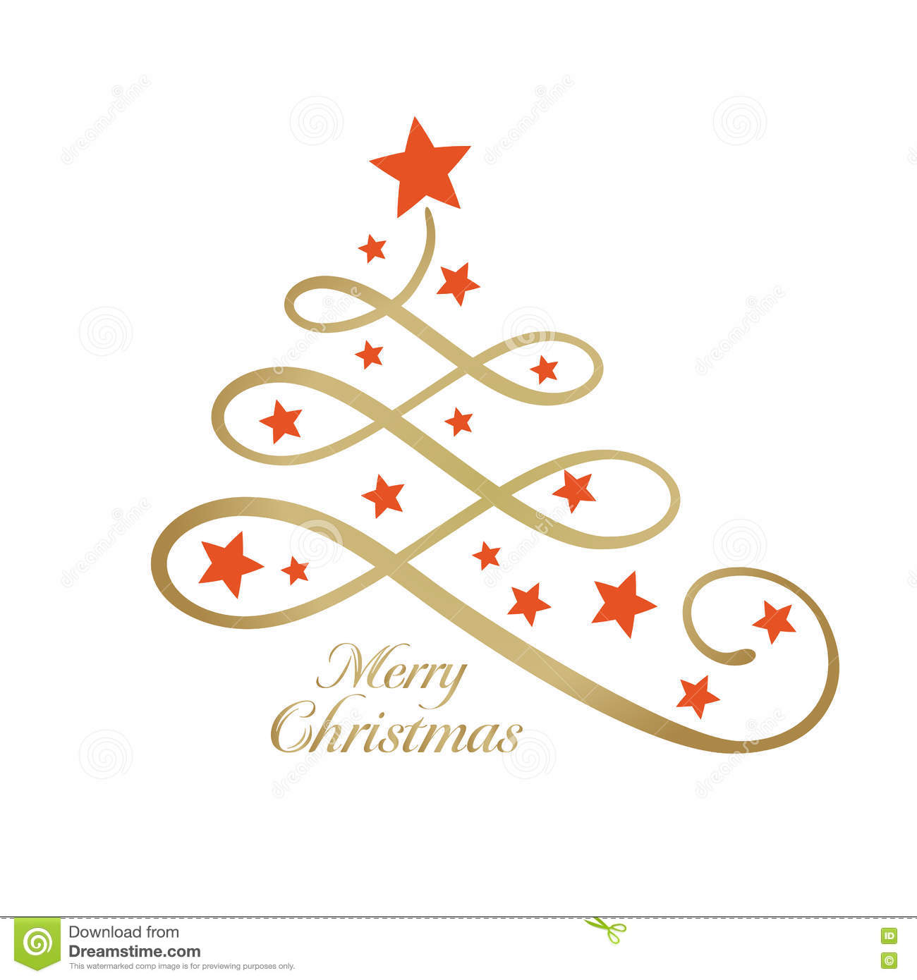 Golden Merry Wording With Christmas Tree And Stars Line Art Stock