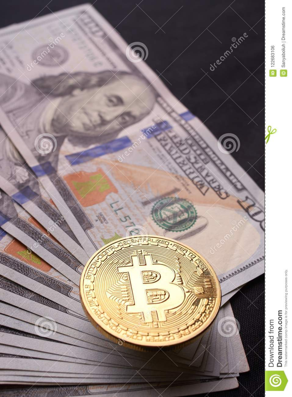 Golden metal bitcoin on dollar bills background. a lot of money in cash. 100 dollars texture. dear bitcoin. Gold coin. Profit from