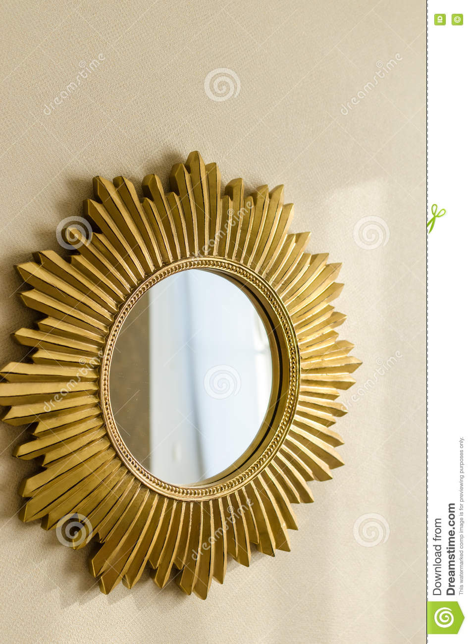 Golden Modern Mirror In Shape Of Sun On The Wall Stock Photo - Image ...