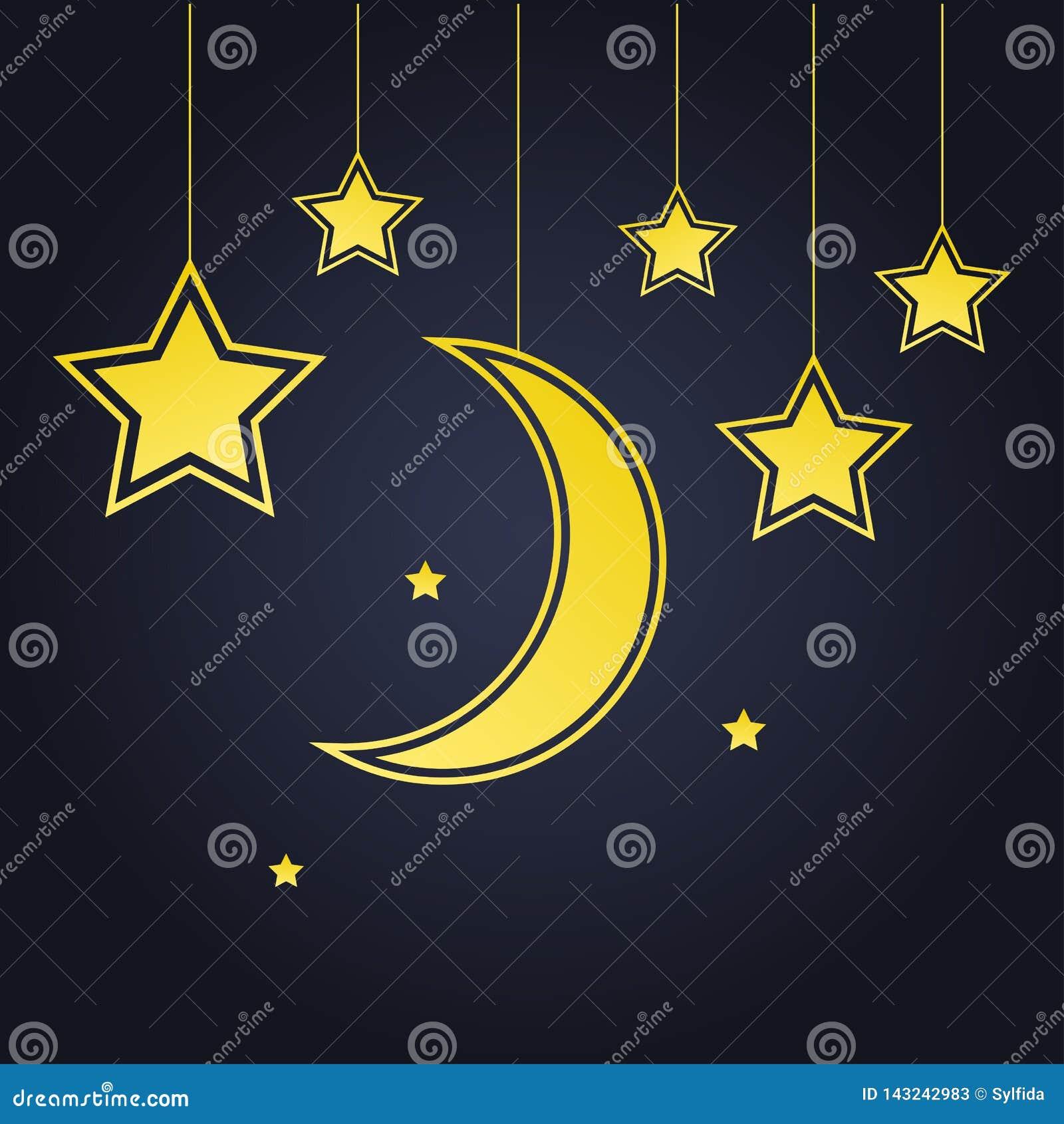 Golden moon and stars. Vector illustration