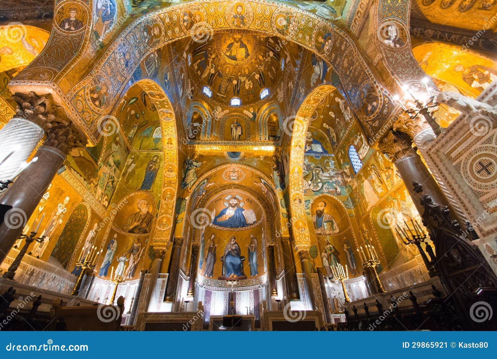 Golden Mosaic In La Martorana Church Palermo Italy Stock