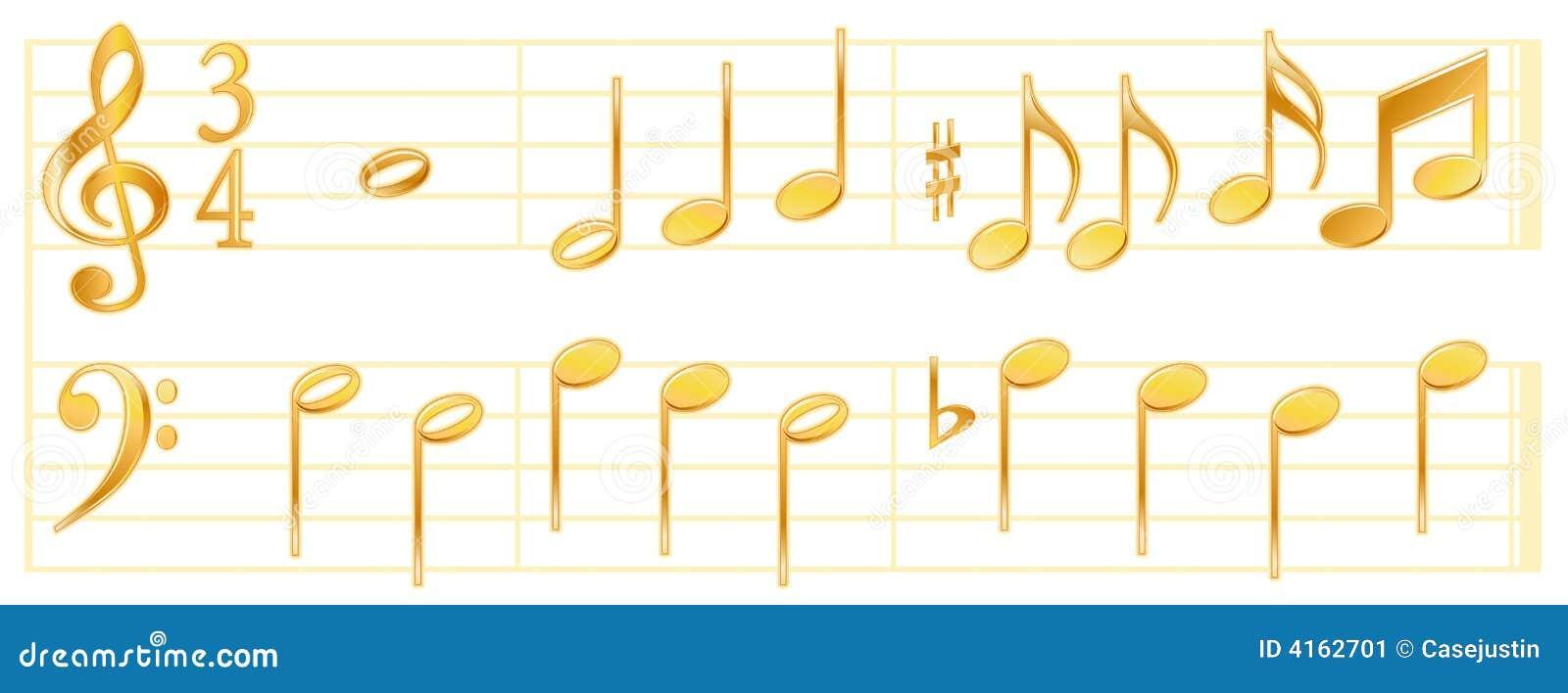 Golden Music Notes Stock Vector. Image Of Music, Metallic