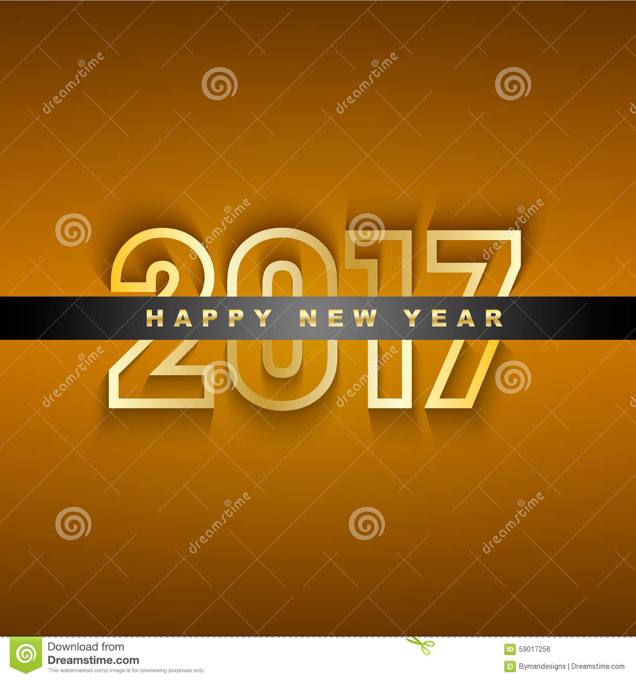 Golden 2017 New Year Greeting Card Stock Vector Illustration Of