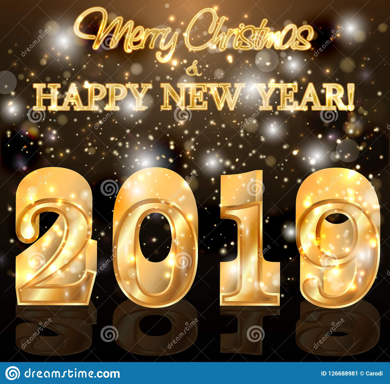 Golden 2019 New Year Greeting Wallpaper Stock Vector