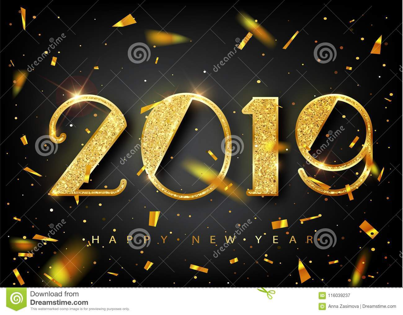 2019 golden new year sign with golden glitter on black background vector new year illustration