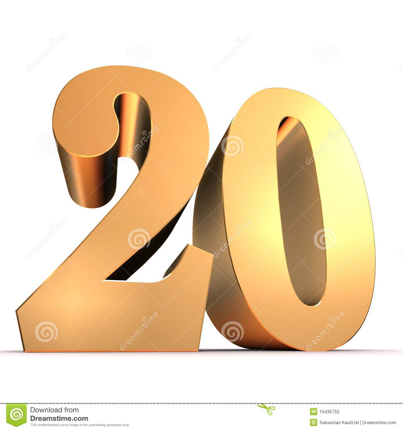 Golden Number - 20 Stock Photography - Image: 15435752