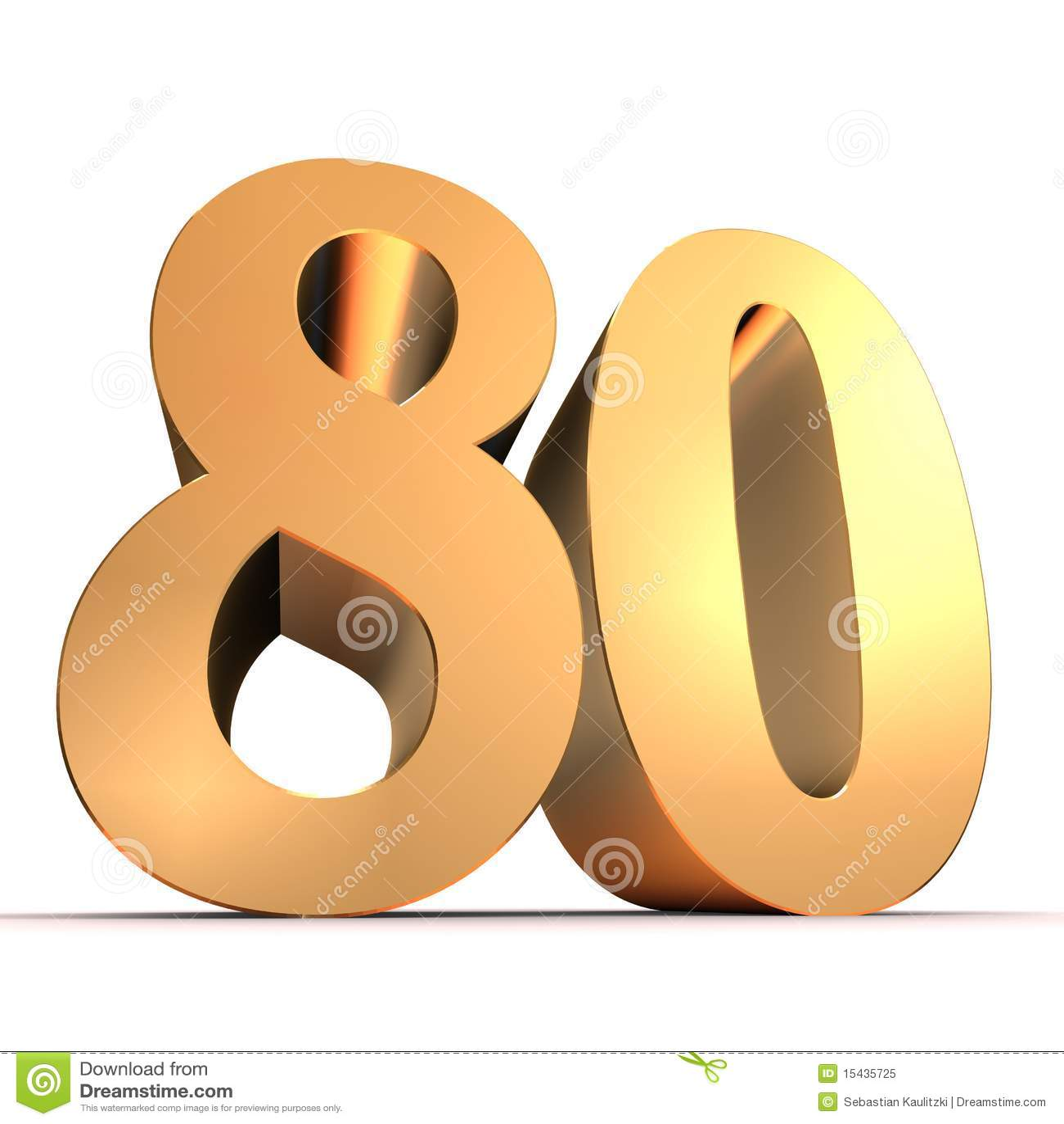 Golden Number 80 Stock Illustration Illustration Of
